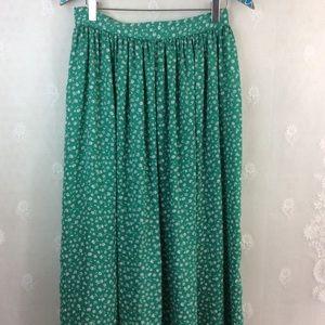 Zara Green White Floral Classic Midi Skirt L